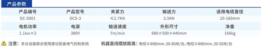 DCS-3电缆输送机参数